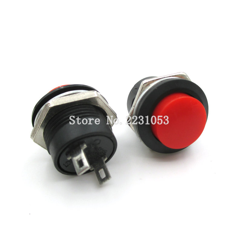5PCS/LOT Red Color Momentary Push Button Switch OFF-ON Reset Switch 16MM 3A 250V AC Non Locking Switches Round Button R13-507