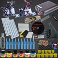 New Complete Tattoo Machine Set 2 Coils Guns 6 Colors Black Pigment Sets Power Tattoo Beginner Kits Permanent Makeup Tattoo Kit