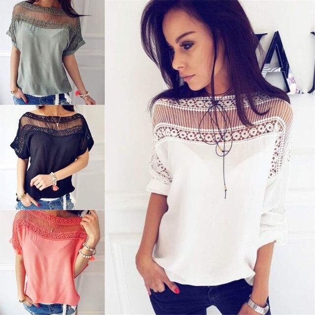 d7b8a65e934 Hot Summer Women Casual Tops Blouse Short Sleeve Crew Neck Lace Shirt  Ladies Fashion Summer Clothes