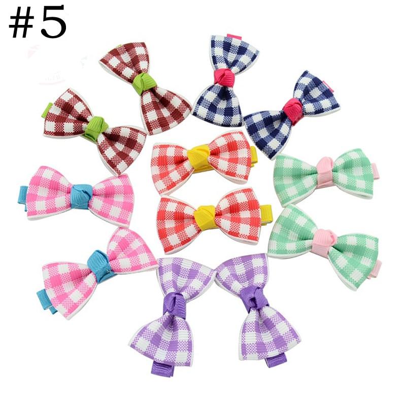 HTB1onAEPVXXXXcSaXXXq6xXFXXXA Trendy Girls Candy Color Dot Flower Print Ribbon Bow Hair Clips - 7 Styles