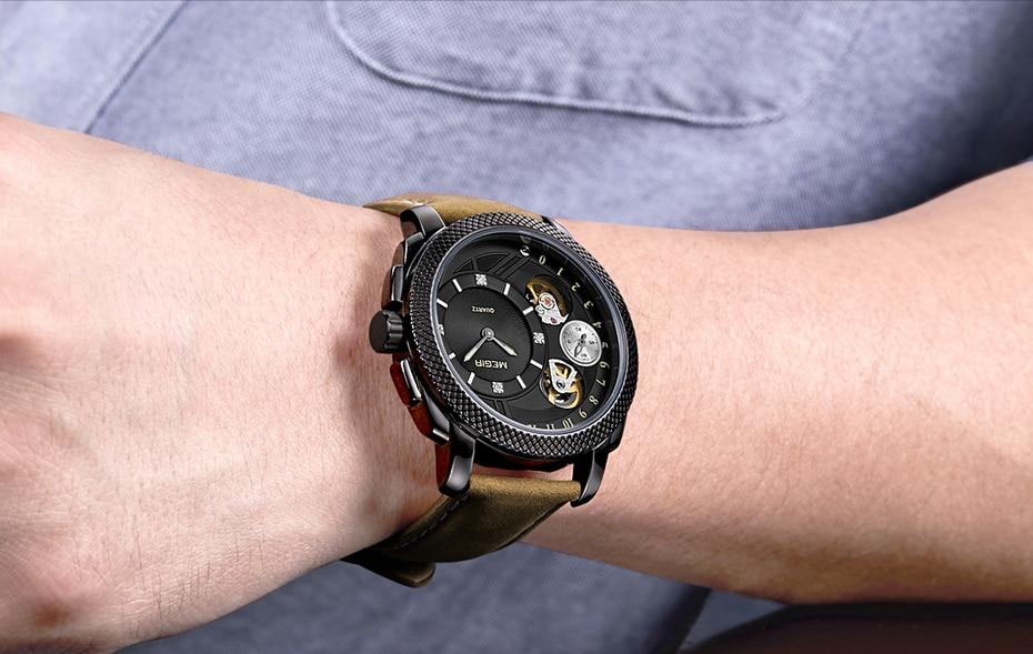 HTB1onAHX2vsK1RjSspdq6AZepXaH MEGIR Luxury Quartz Watches Stainless Steel Military Wrist Watch