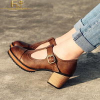 FSJ New Brand Handmade Autumn Spring Retro Brown Vintage Heels Round Toe Shoes Mary Jane Pumps T Strap Block Heels Girls's Day