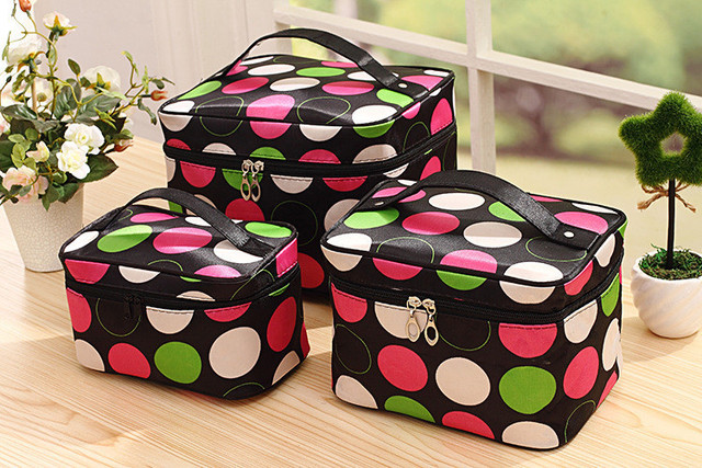 3pcs/Set Cosmetic Bag Layer Dot Pattern Travel Carry Case Toiletry Bag Organizer Clear Travel bag HBG15