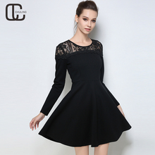 Autumn Winter Black Dresses Plus Size Lace Cotton Elegant Tunic Long Sleeves Lady Casual Large Size