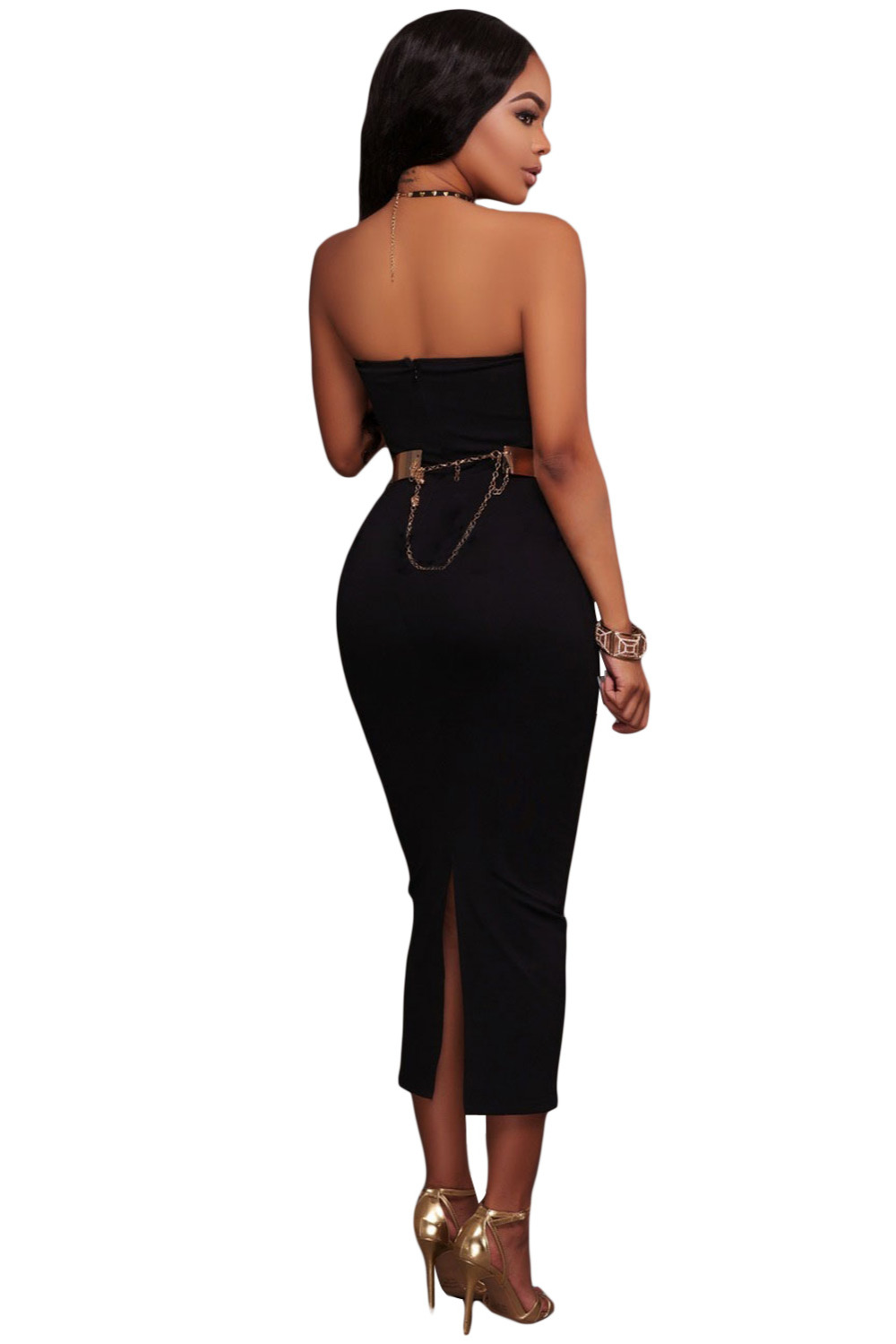 b5a7ee4dc94a Black Sexy Strapless V neck Side Slits Tube Midi Dress 2017 Amazing Lace up  On Legs Women s Fashion Party Club Occasion Dresses-in Dresses from Women s  ...