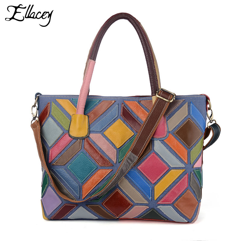 сумка aquapac 053 trailproof tote bag large 2017 Designer Patchwork Large Tote bag Genuine Leather Multi Colored Handbag Shoulder Bag Patchwork Fashion Real Leather bag