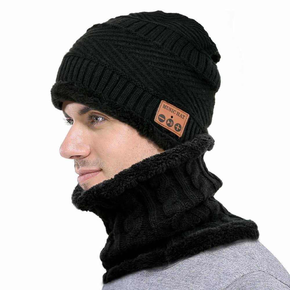 3deebe97c07 Unisex Bluetooth Wireless Smart Beanie Hat with Neckerchief Neck Warmer  Winter Beanies Men Scarf Knitted Hat
