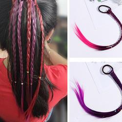 Новые цветные парики хвост волос головные украшения с узором резинки Красота резинки для волос Головные уборы Детские аксессуары для