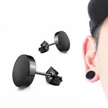 1pc Stainless Steel Dumbbell Stud Earrings for Titanium Round Black Punk Ear Jewelry Women Men Hypoallergenic Rock Style Gift(China)
