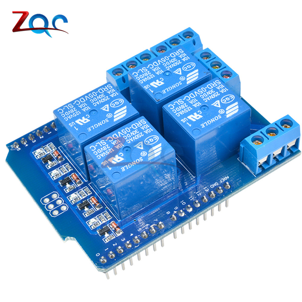 Relay Shield V2.0 4 Channel 5V Relay Swtich Expansion Drive Board for Arduino UNO R3 Development Board Module One 5v 2 channel ir relay shield expansion board module for arduino with infrared remote controller