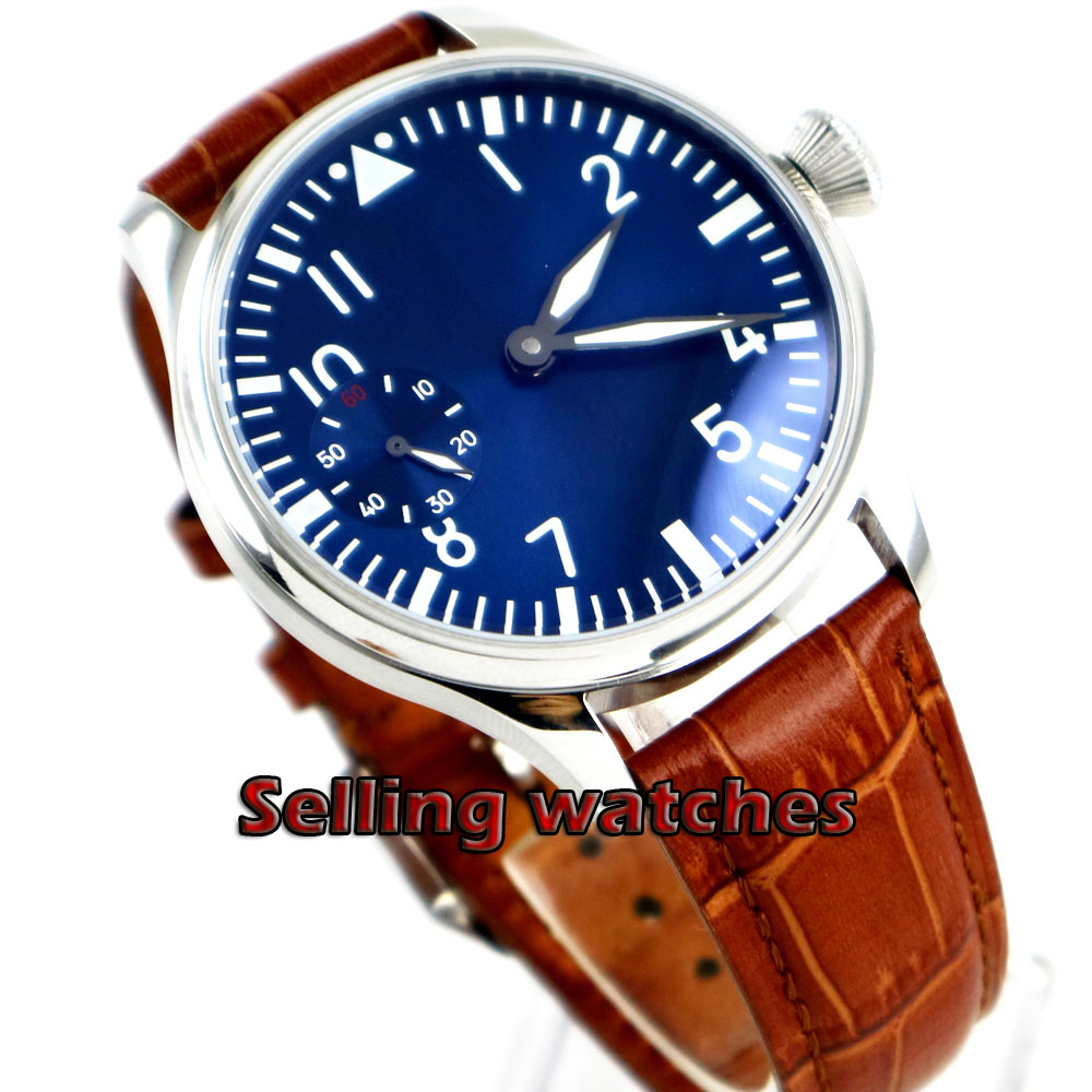 Free Shipping 44mm classic blue dial parnis luminous makrs asia 6497 movement Mechanical Watches hand winding mens watch-in Mechanical Watches from Watches    1