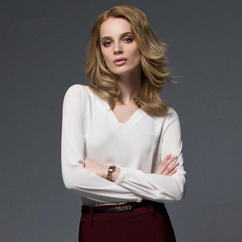 Manches Blanche Longues Nouvelle Fashion 2019 De Patchwork 154 Femme cou Blouses V Shirts White Chemises Automne Mousseline Qualité C Supérieure Soie Femelle qa8Zvn8B