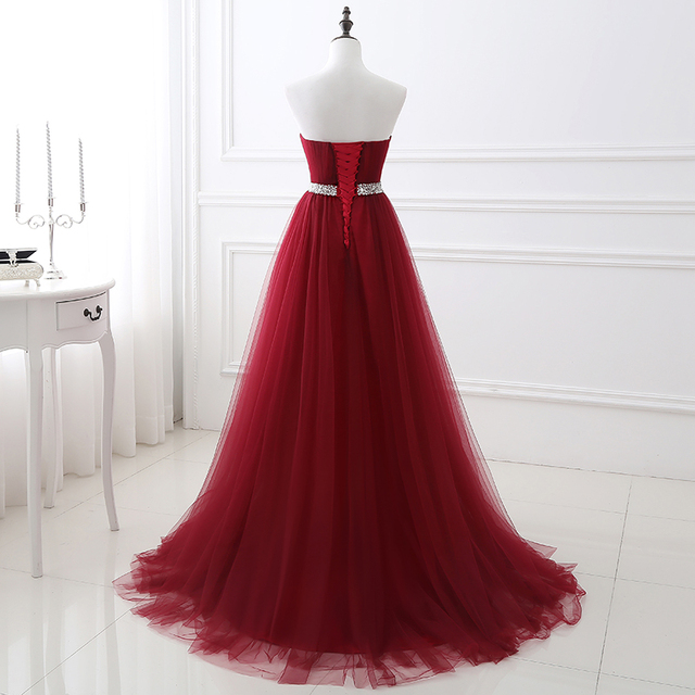 Simple 2020 Women Wine Red Evening Dress Formal Tulle Dresses Sweetheart Neckline Sequin Beaded Prom  GraduationParty Dress 2