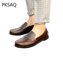 Spring Autumn Deep Palm Men Boat Shoes Casual Leather Shoes Business Flat Breathable Fashion Driving Shoes Men Shoes Size 37-46 цены онлайн