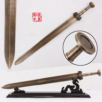 Chinese Antique Bronze Sword Straight Blade Steel With Wood Display Stand Metal Craft Martial Art