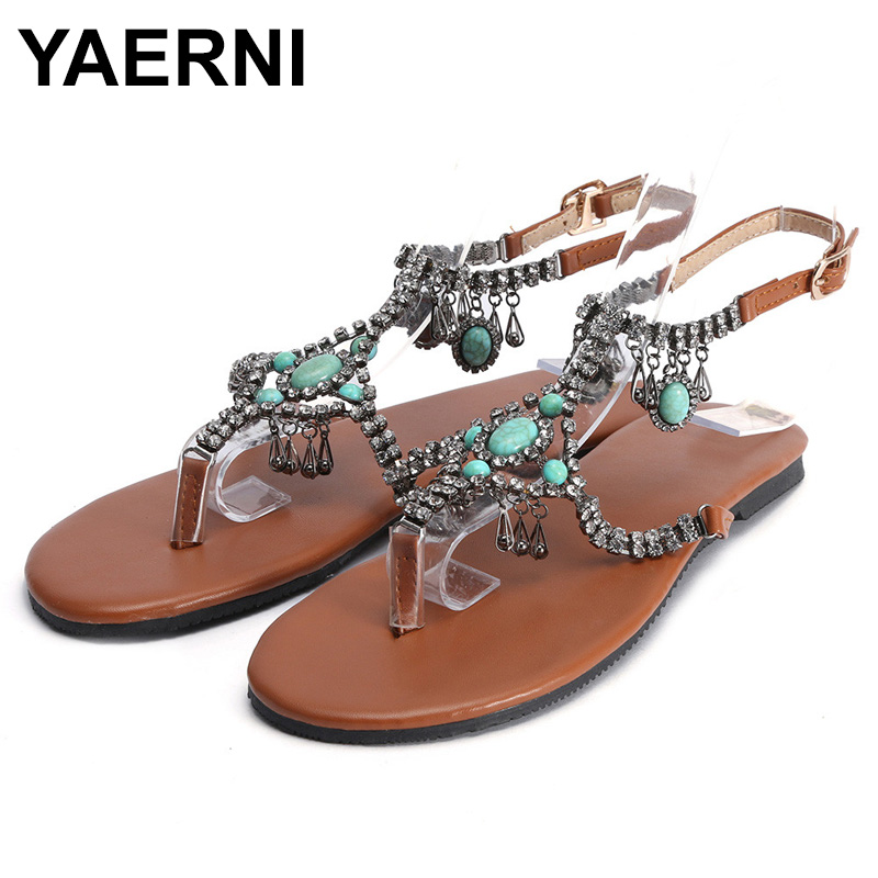 YAERNI2019 Women Casual Bohemian National Wind <font><b>Sandals</b></font> Summer Style Bling Fashion Peep Toe <font><b>Flat</b></font> <font><b>Sexy</b></font> <font><b>Sandal</b></font> <font><b>Flat</b></font> Shoes WomanE845 image