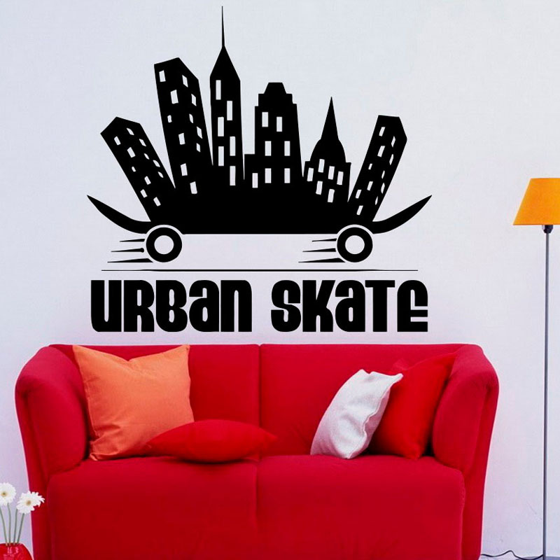 Creative Design Urban Skate Wall Stickers Vinyl Decals Skateboard Extreme Self Adhesive Boys Wall Murals
