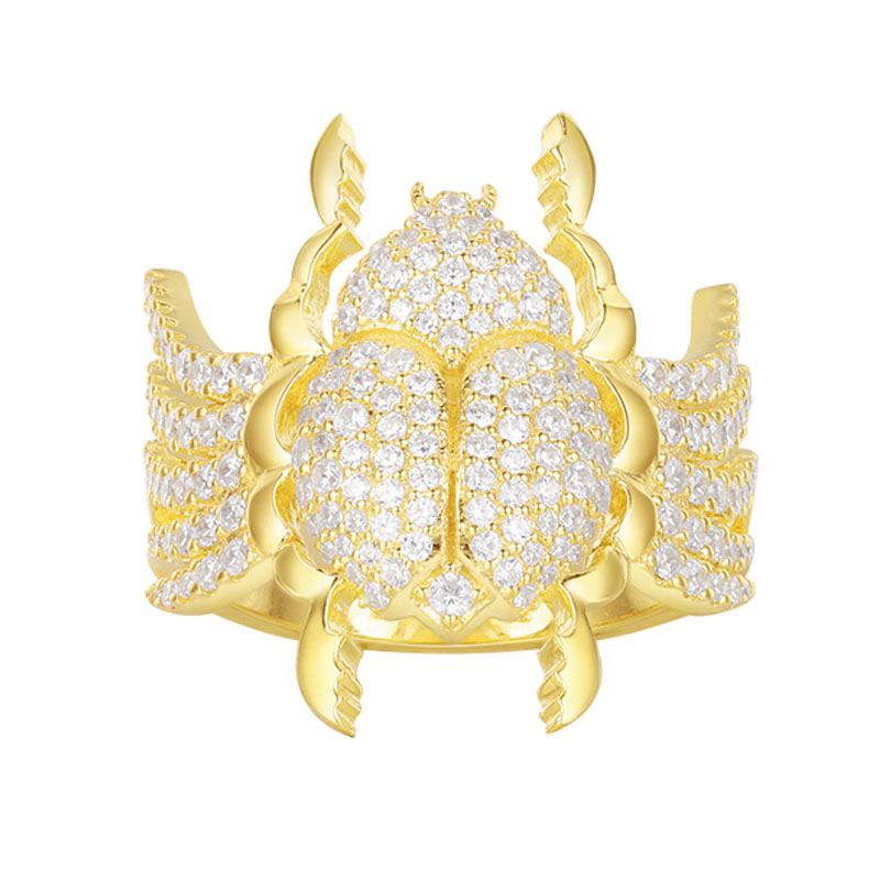 SKA Brand Fine Jewelry Fashion Rings For Women 925 Sterling Silver Monaco Style Inlaid Zircon Scarab Ring A18608OXY