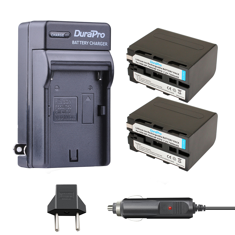 2pc DuraPro 7200mAh NP-F960 NP-F970 Battery+Car Charger+EU Plug for SONY NP F960 F970 F950 F330 F550 F570 F750 F770 MC1500C 190P