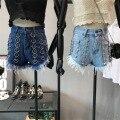 Women Ring Accent Design Short Shorts 2017 Summer New Arrival High Waist Denim Shorts Female UNIF Punk Gothic Tassels Shorts