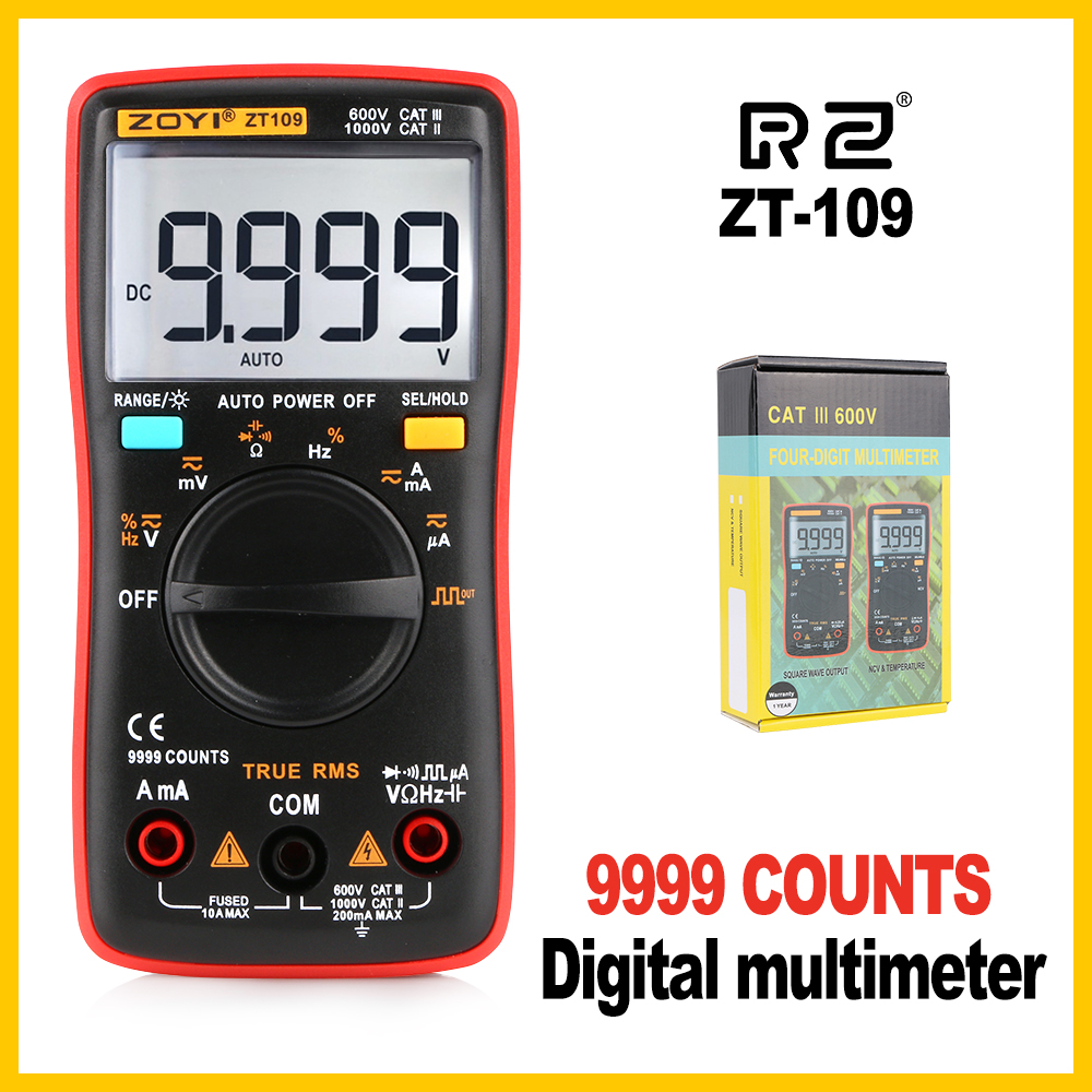 Professional Industrial Multimeter Test Capacitor Multimeter 9999 Counts Backlight LCD Display ZT109 цены