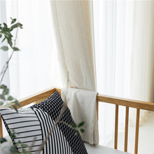 Japanese style plain color simple modern linen fabric window screen bedroom balcony partition finished custom curtain стоимость