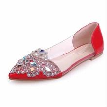 Fashion Women Flat Ballet Shoes Bling Crystal Pointed Toe Flats Elegant Comfortable Lady Shiny