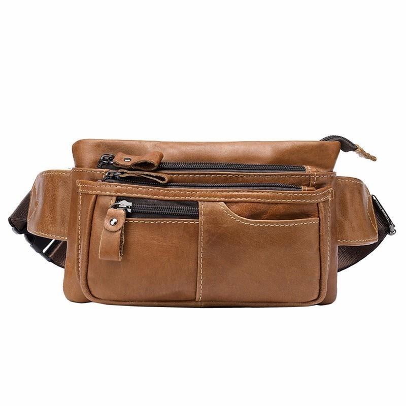Retro Men/'s Leather Fanny Waist Bag Shoulder Bag Hiking Travel Belt Bum Pack