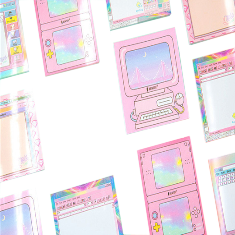 1pack lot Kawaii Pink Memo Notepad Cartoon Computer Molding Paper Memo Stickers Stationery Message Label School Office Supplies in Stickers from Home Garden