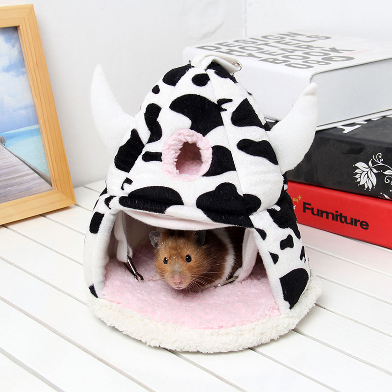 Variable Warm Multi-storey Cow Color Short Plush Small Animal Villa Cage Hamster Cage Bed Squirrel House Hedgehog Nest Toy