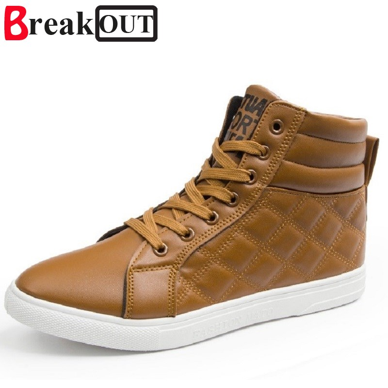 Break Out New Men Boots for Men Leather Martin Boots High Top Lace Up Breathable Casual Fashion Men Shoes 3 Colors new spring men shoes trainers leather fashion casual high top walking lace up ankle boots for men red zapatillas hombre