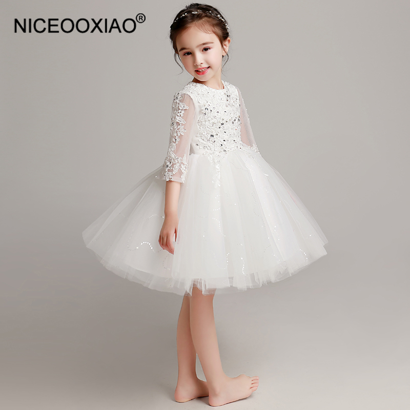NICEOOXIAO Lace Half Sleeve   Flower     Girl     Dress   Comfort Round Neck Party Performance   Dress   Beautiful   Flower     Girl     Dress   BNLF611-37