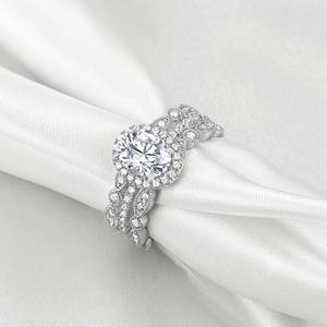 Image 4 - Newshe plata sólida 925 conjunto de anillo de compromiso de boda para mujer, circonitas de forma ovalada AAA, bandas de decoración artística, joyería clásica