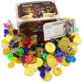 Plastic Gold Treasure Coin Captain Pirate Coin Crystal Diamond Treasure Box Acrylic Stones Gem Toys For Boys pirate gold coins plastic set of 100 play gold treasure coins for play favor party supplies pirate party treasure hunt