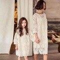 Estilo europeu Outono Inverno mãe e filha se veste ocasional sólida rendas estilo correspondência de mãe e filha roupas para a festa de 2016