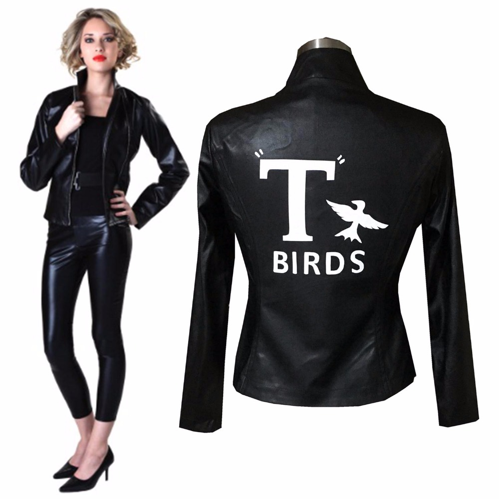 New Birds Jacket Sexy Cool Girl Grease Sandy Retro Jacket Faux Leather Costume Outwear Halloween Costume Jacket For Adult Women