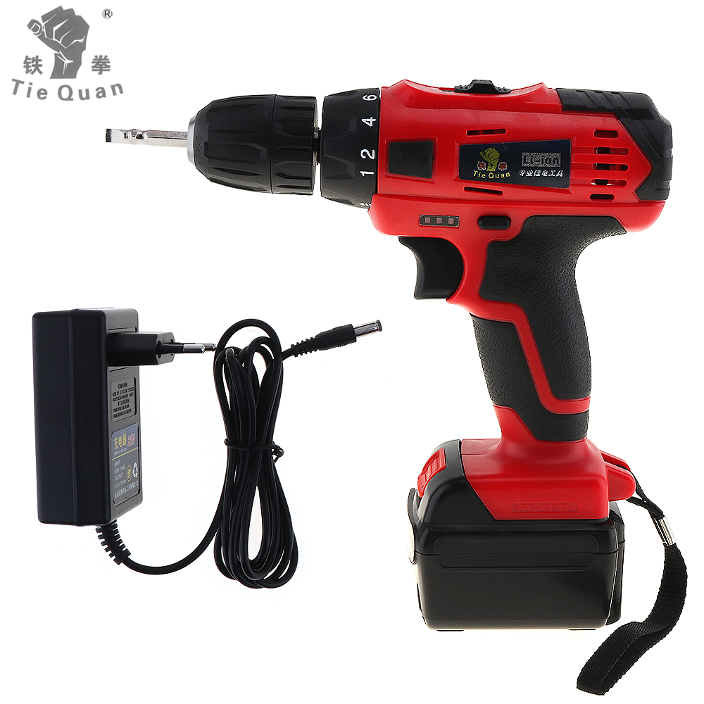 AC 110 - 220V Cordless 21V Electric Drill/Screwdriver with Lithium Battery Adjustment Switch and Two-speed Adjustment ButtonAC 110 - 220V Cordless 21V Electric Drill/Screwdriver with Lithium Battery Adjustment Switch and Two-speed Adjustment Button