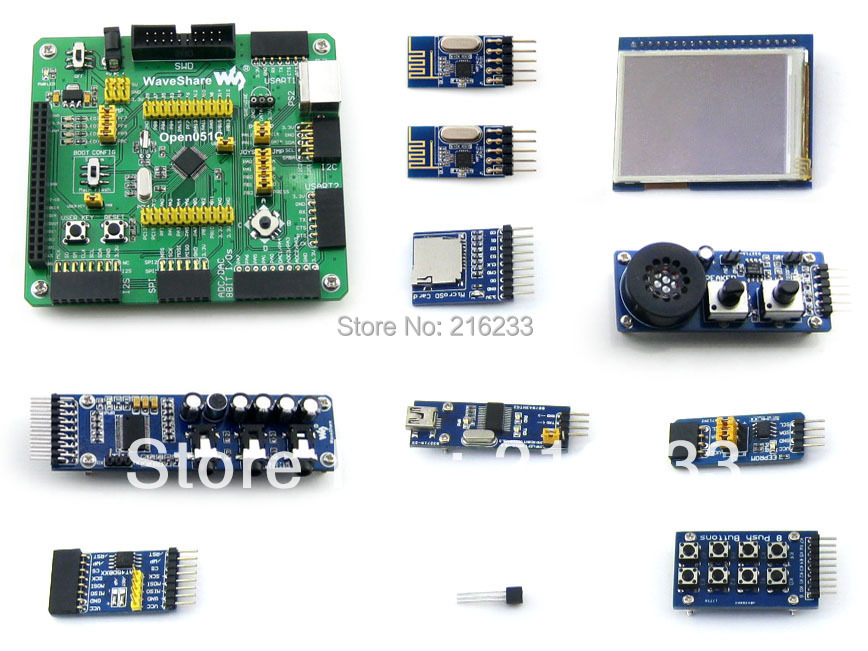 STM32F051C ARM Cortex-M0 Development Board + 10 Accessory Modules = Open051C Package B module stm32 arm cortex m3 development board stm32f107vct6 stm32f107 8pcs accessory modules freeshipping open107v package b