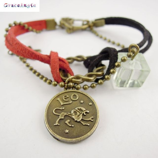 AM0337 New Leather Alloy Crystal Bracelet Zodiac Astrological Sign Horoscope Aquarius Gift 16cm 1PC