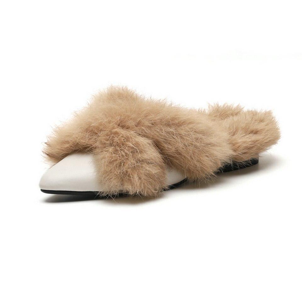 Cuero Del Plano Sandalias En 3 Occidental Zapatos Negro Eshtonshero De blanco 9 Zapatillas Tamaño Desliz Estilo Primavera Punta Mujer Piel Pie Invierno Dedo Tacón qwnAZCvI