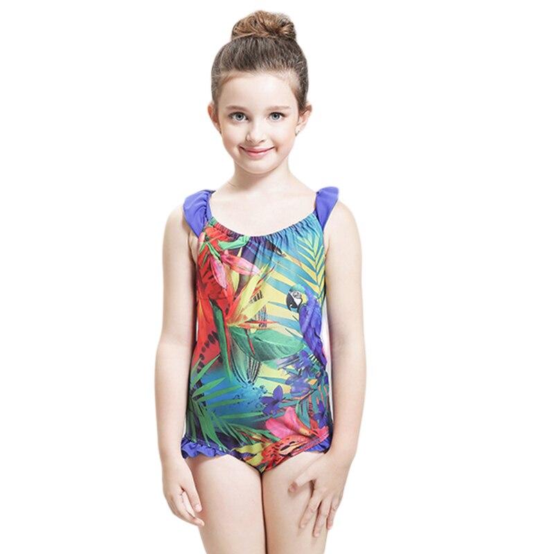 New Cute Kids Sports Swimwear One Piece Swimsuit For Girls Children's Swimwear Ruffle hem Bathing Suit Children's Beach Wear