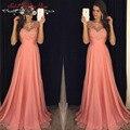 Одеяние де вечер оранжевый шифон длинное вечернее платье ну вечеринку элегантный 2016 о шея кружева старинные платья выпускного вечера быстрая доставка