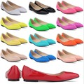 Plus size 40 41 42 women patent leather wet look glossy ballerinas flat oxfords shoes slip on comfort boat shoes green yellow