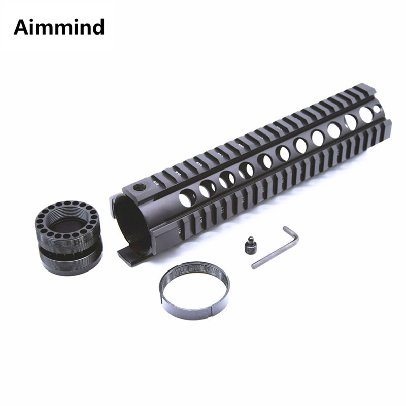 Chasse tactique Airsoft AR-15 M4 Handguard carabine 10 pouces flotteur gratuit Quad Rail Picatinny montage trou rond accessoires de fusil