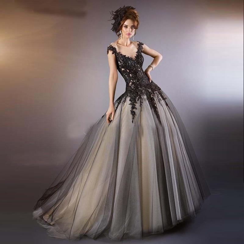Black Appliques Ball Gown Formal Evening Dresses Vestido De Noiva ...
