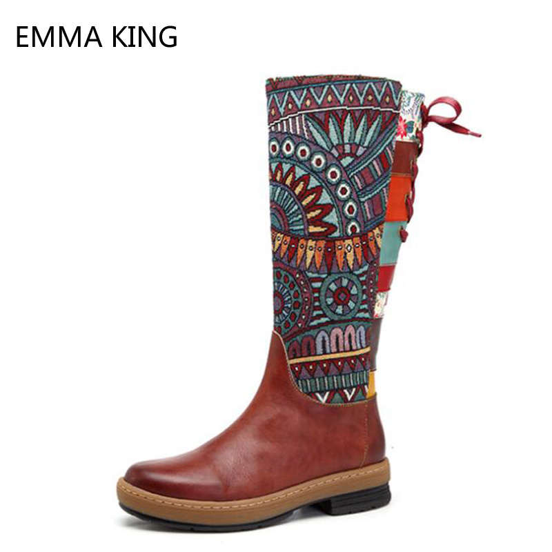 Handmade Leather Womens Boots European And American Style 2018 New Fashion Boho Hand-Painted Sewing Warm Long BootsHandmade Leather Womens Boots European And American Style 2018 New Fashion Boho Hand-Painted Sewing Warm Long Boots