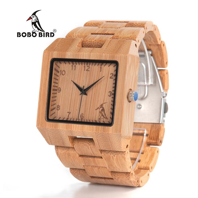 BOBO BIRD V-L22 Wood Watches Men High Quality Bamboo Watch Men Luxury Square Quartz Analog Clock wholesale low price high quality luxury new quartz movement bamboo wood business wrist watch men watch boyfriend best gift w010