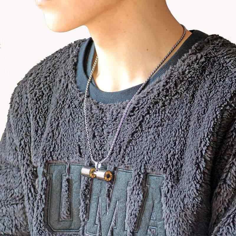 TOP!-hantle wisiorek kulturystyka Fitness naszyjnik duży rozmiar srebrny Crossfit brzana naszyjnik Fitness biżuteria ze Stee