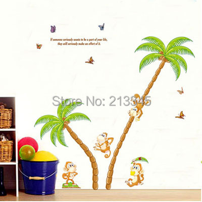 [Fundecor] New Design Cartoon Monkey Coconut Tree Home Wall Kids Room Decor  Stickers Bathroom