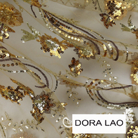 120cm wide golden flower paillette net lace fabric for dress diy patchwork material